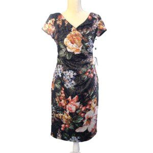 Adrianna Papell Floral Metallic Party Dress NWT 6P
